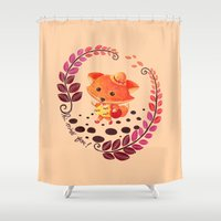alisa burke Shower Curtains featuring Hello Miss Fox!! by haidishabrina