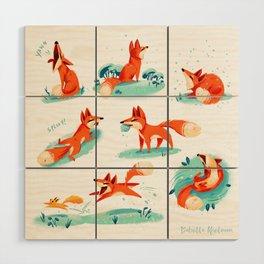 Foxy Poses Wood Wall Art