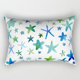 Watercolor Starfish Pattern Rectangular Pillow