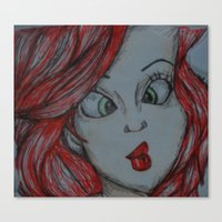 the little mermaid Canvas Prints featuring Little mermaid by Nichola irvine art