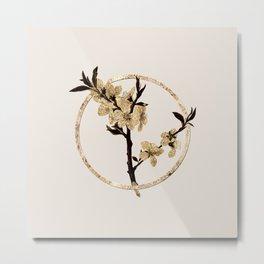 Gold Ring Almond Tree Flower Glitter Botanical Illustration Metal Print