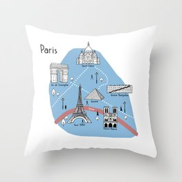 Mapping Paris - Original Throw Pillow