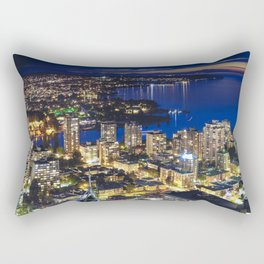 1556 Voyeuristic Vancouver Cityscape Twilight View English Bay Vancouver Rectangular Pillow