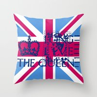 british flag Throw Pillows featuring British Flag in Pink by GraphicDivine