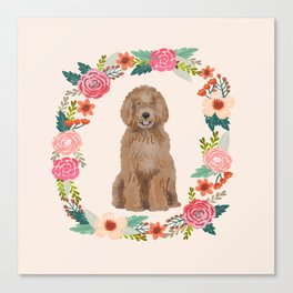 labradoodle floral wreath dog breed pet portrait pure breed dog lovers Canvas Print