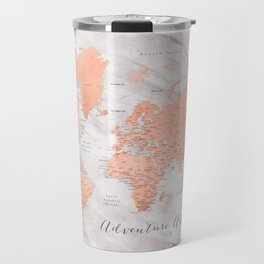 "Adventure awaits world map in rose gold and marble, ""Janine"" Travel Mug"