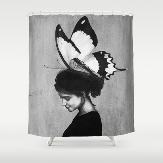 Woman With Butterfly Black And White Shower Curtain By
