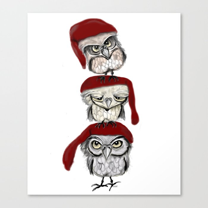 Christmas Owls Canvas Print