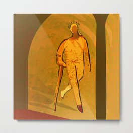Woman with Crutch walking towards the Spring light Metal Print