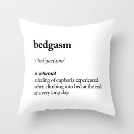 Bedgasm black and white contemporary minimalism typography design home wall decor bedroom Throw Pillow