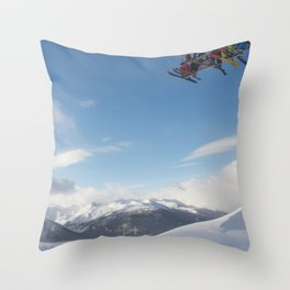Skiers on chairlift 2 Throw Pillow