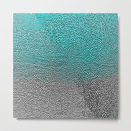 Turquoise and Silver Foil Metal Print