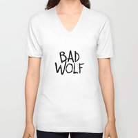 bad wolf V-neck T-shirts featuring Bad Wolf by Geek Bias