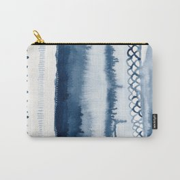 Beach Series Indigo Waves Watercolor Painting Carry-All Pouch