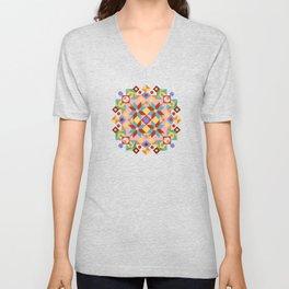 Pink Patchwork Quilt (printed) Unisex V-Neck