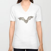 bat V-neck T-shirts featuring Bat by Arts and Herbs