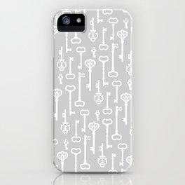 Light Grey Victorian Keys iPhone Case