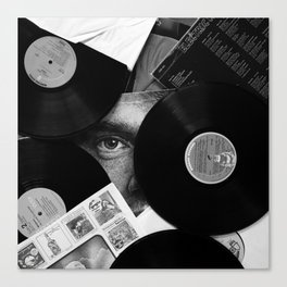 Long-playing Records and Covers in Black and White - Good Memories #decor #society6 #buyart Canvas Print