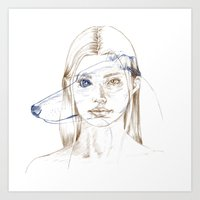 greyhound Art Prints featuring Greyhound by Clunaillustration