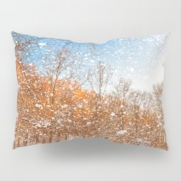 Snow Spattered Winter Forest Pillow Sham