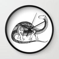 dinosaur Wall Clocks featuring Dinosaur by Nicole Whelan