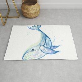 Cute whale watercolor Rug
