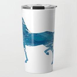 Light Blue Marble Akhal-Teke Horse Silhouette Travel Mug