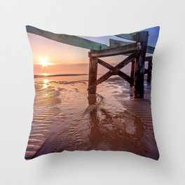 Biloxi Beach Low Tide Sunrise Throw Pillow