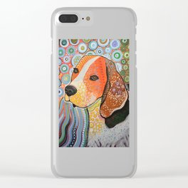Rocky ... Abstract pet dog portrait art, Beagle Clear iPhone Case