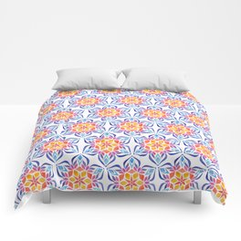 Snowflake - Blue and Yellow Comforters