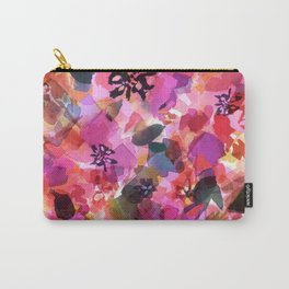 Peach Pink Tulip Floral Carry-All Pouch