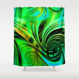 Curls Deluxe Green Shower Curtain