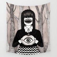 pumpkin Wall Tapestries featuring pumpkin eye by Ally Burke