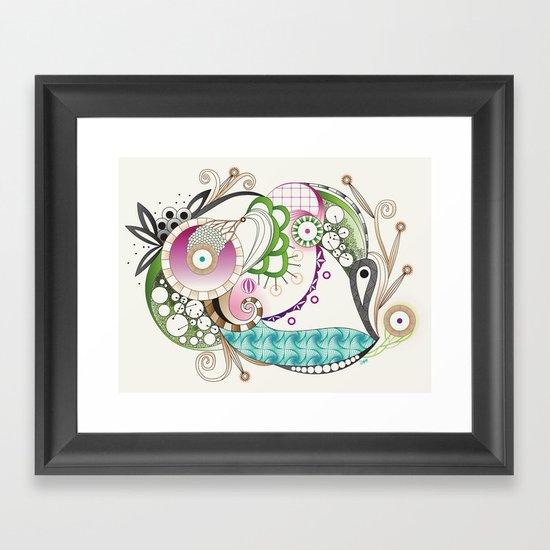 Autumn tangle, sienna - purple color set Framed Art Print