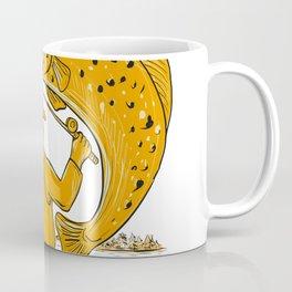 Fly Fisherman Reeling Trout Drawing Coffee Mug