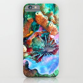 Coral and Lionfish, Underwater photo by John Schwalbe iPhone Case