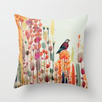 Throw Pillows featuring joie de vivre by sylvie demers