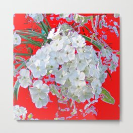 DELICATE RED & WHITE LACE FLORAL Metal Print