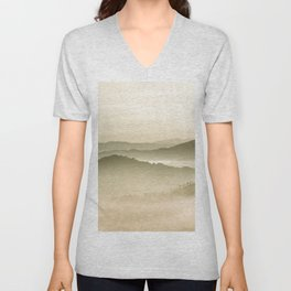Pastel Blue Green Sepia Sunset Mountains layered parallax Landscape Minimalist Landscape Unisex V-Neck