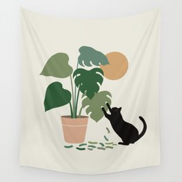 Cat and Plant 13: The Making of Monstera Wall Tapestry