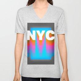 NYC colorful print design Unisex V-Neck