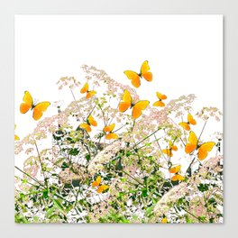 WHITE ART GARDEN ART OF YELLOW BUTTERFLIES Canvas Print