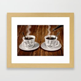 Hot Coffee Time in the Kitchen Framed Art Print