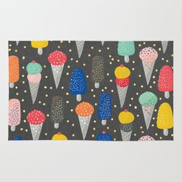 Colorful ice-cream summer food pattern Rug