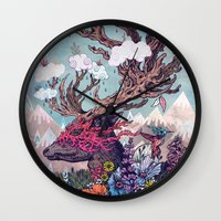 spirit Wall Clocks featuring Journeying Spirit (deer) by Mat Miller