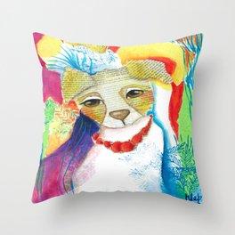 Dog abstract portrait watercolor original art by Deb Harvey Princess Throw Pillow
