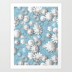 Paper Cut Flowers (Cornflower Blue) Art Print