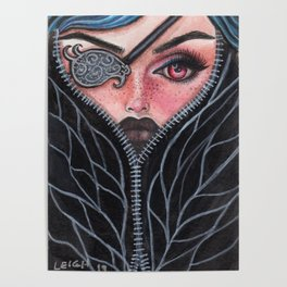 Margo Eye Patch Mermaid Tails Series 003 Fantasy Art by Laurie Leigh Poster