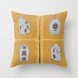 Birdhouses and tree Throw Pillow