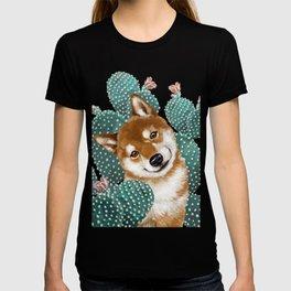 Shiba Inu and Cactus T-shirt